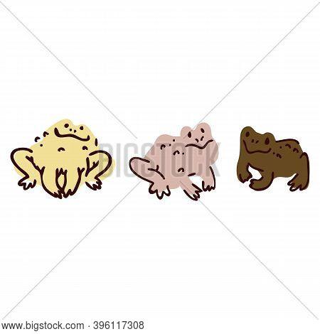 Cute Cartoon Frog Set Lineart Vector Illustration. Simple Amphibian Sticker Clipart. Kids Lake Wildl