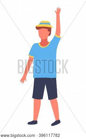 Boy Putting Up Hand To Gain Attention Isolated On White Background. Kid Dressed In Summer Clothes In