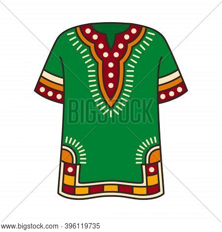 Dashiki Shirt - Isolated Vector Illustration. It Is Traditional African Colorful Garment. It Will Be