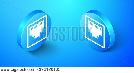 Isometric Network Port - Cable Socket Icon Isolated On Blue Background. Lan Port Icon. Ethernet Simp