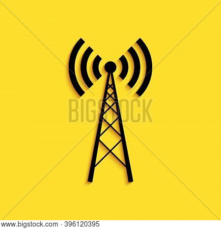 Black Antenna Icon Isolated On Yellow Background. Radio Antenna Wireless. Technology And Network Sig