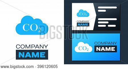 Logotype Co2 Emissions In Cloud Icon Isolated On White Background. Carbon Dioxide Formula Symbol, Sm