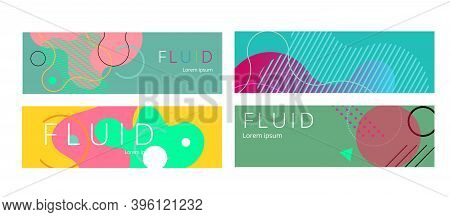 Colorful Geometric Background. Fluid Shapes Composition. Abstract Banner Template. Eps10 Vector.