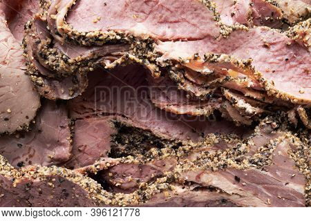 Close Up Of Beef Bacon Food Background