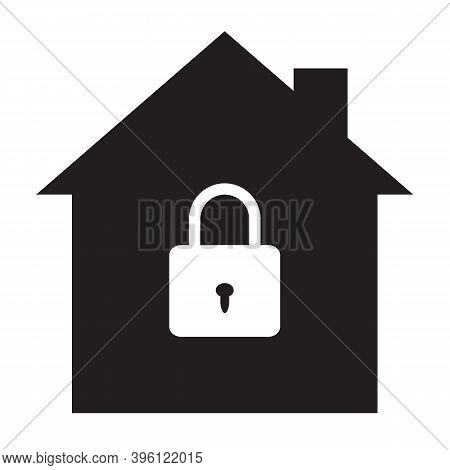 House Security Protection Icon On White Background. Lock House Sign. Home Security Symbol. House Wit