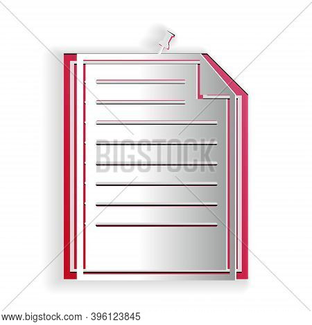 Paper Cut Note Paper With Pinned Pushbutton Icon Isolated On White Background. Memo Paper Sign. Pape