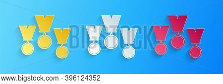 Paper Cut Medal Set Icon Isolated On Blue Background. Winner Simbol. Paper Art Style. Vector