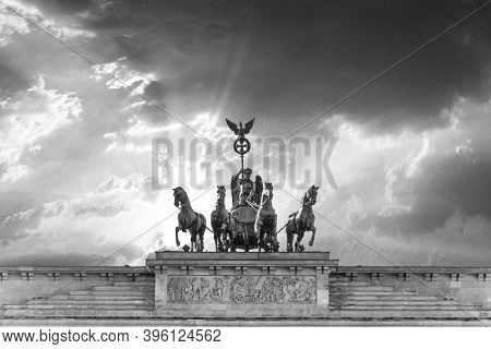 Berlin, Germany - October 27, 2014: Brandenburg Gate (brandenburger Tor) In Berlin In Sunset.