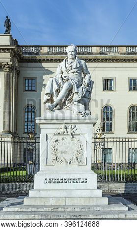 Berlin, Germany - October 27, 2014: Statue Of Wilhelm Von Humboldt In Berlin, Germany. Humboldt Was