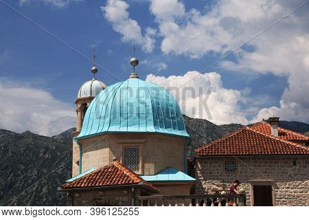 Perast, Montenegro - 06 May 2018: The Ancient Church In Perast On Adriatic Coast, Montenegro