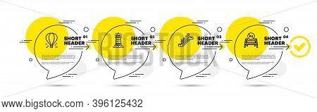 Air Balloon, Lighthouse And Escalator Line Icons Set. Timeline Infograph Speech Bubbles. Eu Close Bo