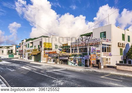 Playa Blanca, Spain - November 12, 2014: Empty Pedestrian Shopping Zone In Playa Blanca, Lanzarote W