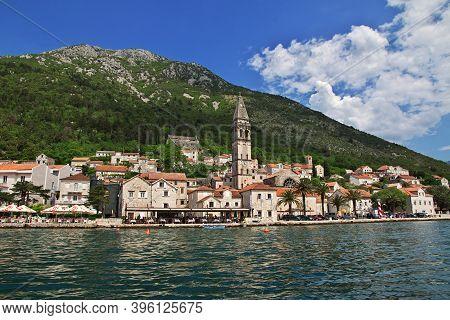 Perast, Montenegro - 06 May 2018: The View Of Ancient City Perast On Adriatic Coast, Montenegro