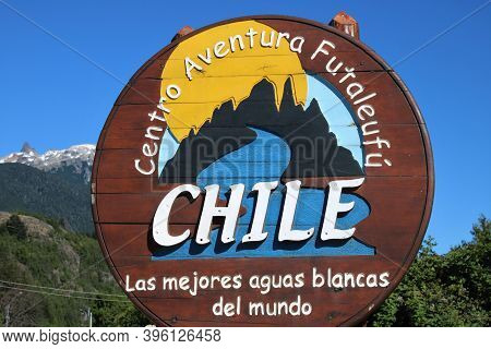 Futaleufu, Chile - February 2, 2018: Signage  Centro Aventura Futaleufú (futuáleuf Region) In Chile,