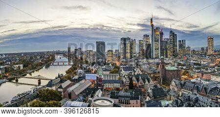 Frankfurt, Germany - July 11, 2018: Aerial Of Frankfurt Am Main, Germany In The Evening