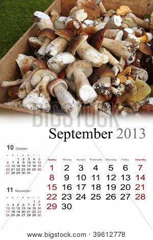 2013 Calendar. September
