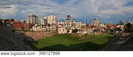 Durres, Albania - 08 May 2018: The Panoramic View Of The Center Of Durres , Albania