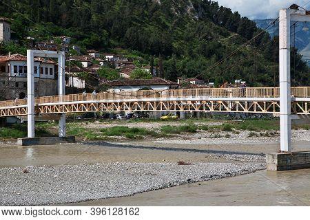 Berat, Albania - 09 May 2018: The Vintage Bridge In Berat, Albania