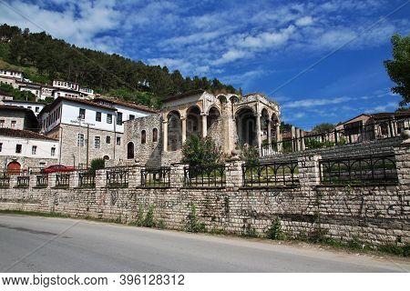 Berat, Albania - 09 May 2018: Vintage Houses Of Berat City In Albania