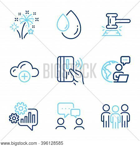 Business Icons Set. Included Icon As Cogwheel, People Chatting, Judge Hammer Signs. Group, Cloud Com