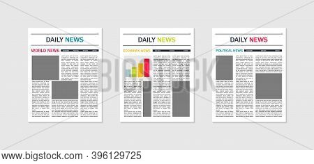 Newspaper Template. Mockup Of News And Magazines. Paper Page Of Journal With Article, Column And Hea