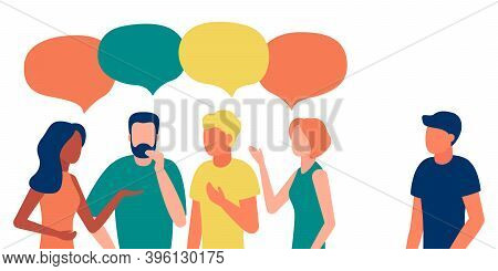 Group Of People Communicates, Ignoring Introverted Man. Loneliness, Ignorance, Discrimination, Indif