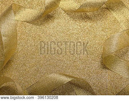 Merry Christmas And Happy New Year. Gold Card With Bright Ribbon, New Year Tinsel