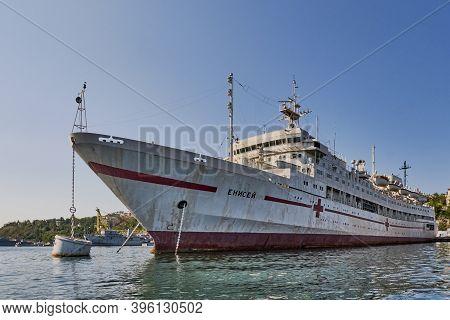 Sevastopol, Russia - September 26, 2020: Hospital Ship Yenisei, Docked At The Port Of Sevastopol. Bl