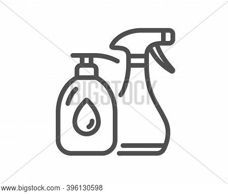 Cleaning Liquids Line Icon. Antiseptic Spray Sign. Washing Symbol. Quality Design Element. Linear St