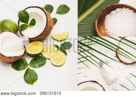 Collage Of Coconut Halves, Botte Of Lotion, Lime, Bowl With Sea Salt, And Leaves On White Background
