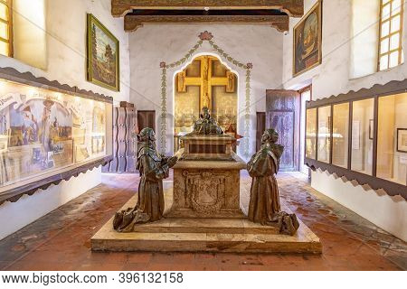 Carmel, Usa - Mar 15, 2019:  Grave Of Prior At Carmel Mission San Carlos Borromeo In Carmel, Usa. Po