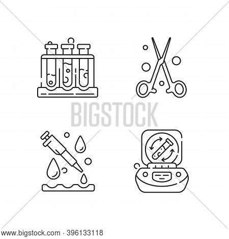 Laboratory Instruments Linear Icons Set. Holding Upright Multiple Test Tubes. Forceps, Pipette. Cust