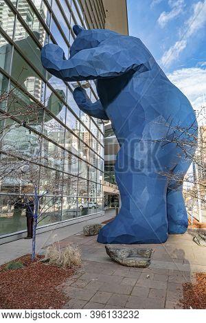 Denver, Usa - December 25, 2019: The 40-foot-high Blue Bear