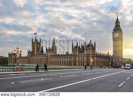 Houses Of Parliament With Big Ben Tower From Westminster Bridge, London, Uk