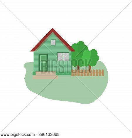 Vector Flat Icon Suburban American House. For Web Design And Application Interface, Also Useful For