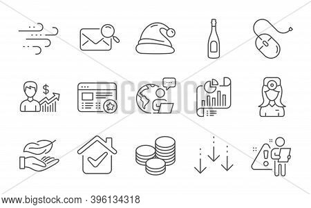 Lightweight, Report Document And Business Growth Line Icons Set. Computer Mouse, Windy Weather And S
