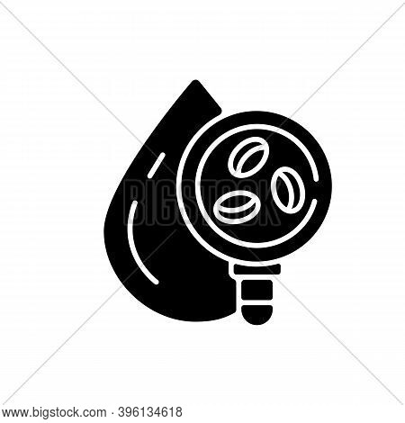 Blood Cell Test Black Glyph Icon. Microbiology Research. Clinical Diagnostic. Plasma Exam. Erythrocy