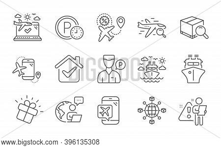 Search Package, Ship Travel And Flight Mode Line Icons Set. Flights Application, Parking Time And Se