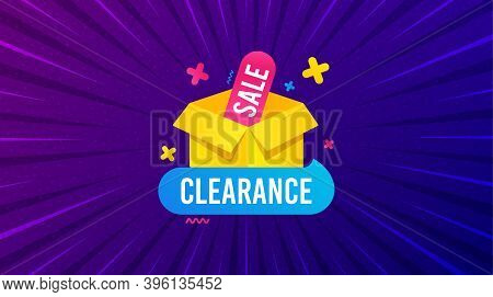 Clearance Sale Banner. Purple Background With Offer Message. Discount Sticker Box. Special Offer Ico