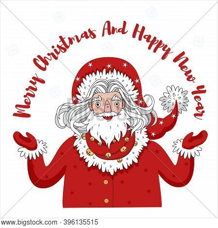 Santa Claus Or Jack Frost With Text Title - Merry Christmas And Happy New Year. Happy Santa Claus On