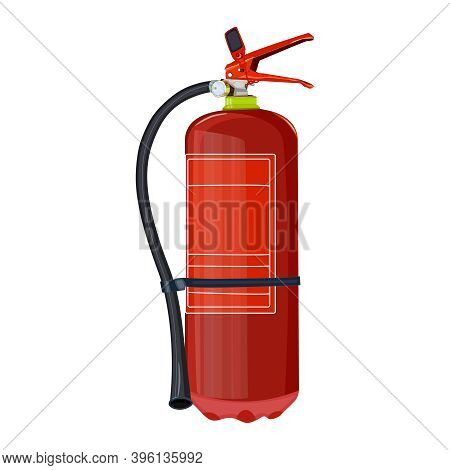 Fire Extinguisher Isolated On White Background. Red Fire Extinguisher With Nozzle. Portable Fire Equ