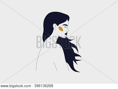 Strong Woman With Flowing Long Hair Side View Portrait. Silhouette Of The Female With Closed Eyes. C