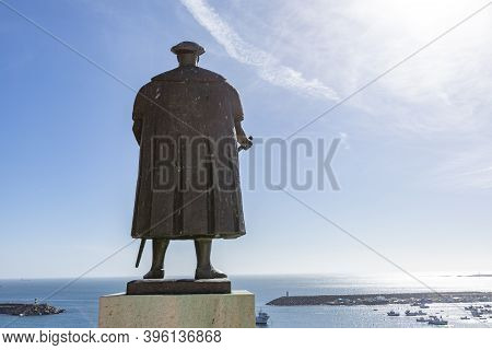Sines. Portugal - March 9, 2020: Portuguese Explorer Vasco Da Gama Statue In Front Of The Church In