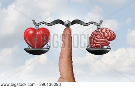Heart And Brain As A Psychology Symbol Representing The Balancing Act Between The Rational Logical M