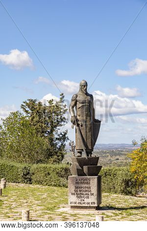 Ourique, Portugal - March 16, 2020: Statue Of King Alfonso Henriques In Ourique To Remember The Batt