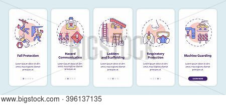 Top Workplace Safety Violations Onboarding Mobile App Page Screen With Concepts. Fall Protection Wal