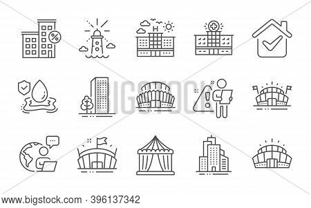 Buildings, Circus Tent And Hospital Building Line Icons Set. Arena Stadium, Skyscraper Buildings And