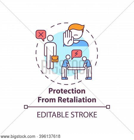 Protection From Retaliation Concept Icon. Understand Your Responsibilities. Treat Employees Consiste