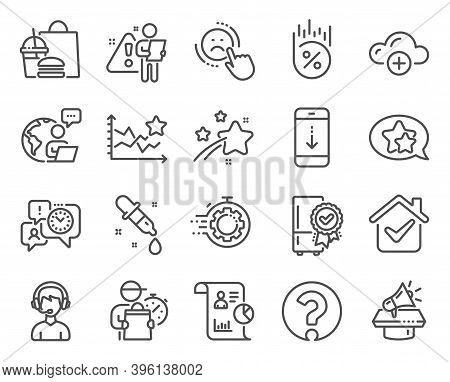 Technology Icons Set. Included Icon As Cloud Computing, Scroll Down, Ranking Stars Signs. Megaphone,