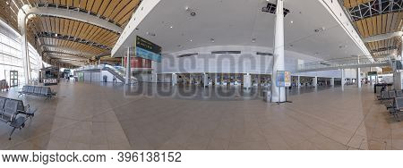 Faro, Portugal - June 20, 2020: Entrance Hall Of Faro Airport Without Tourists Due To Corona Shutdow